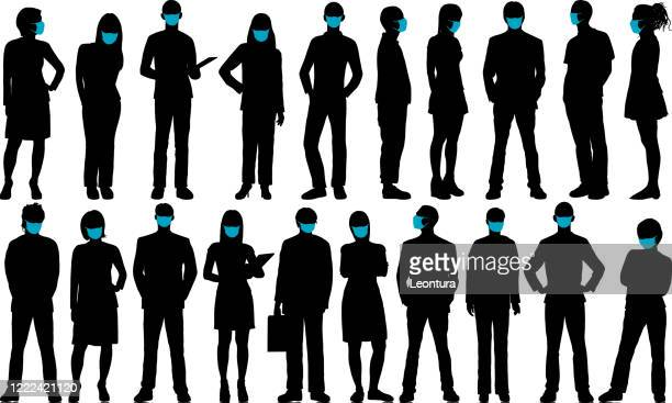 business people with face masks - obscured face stock illustrations