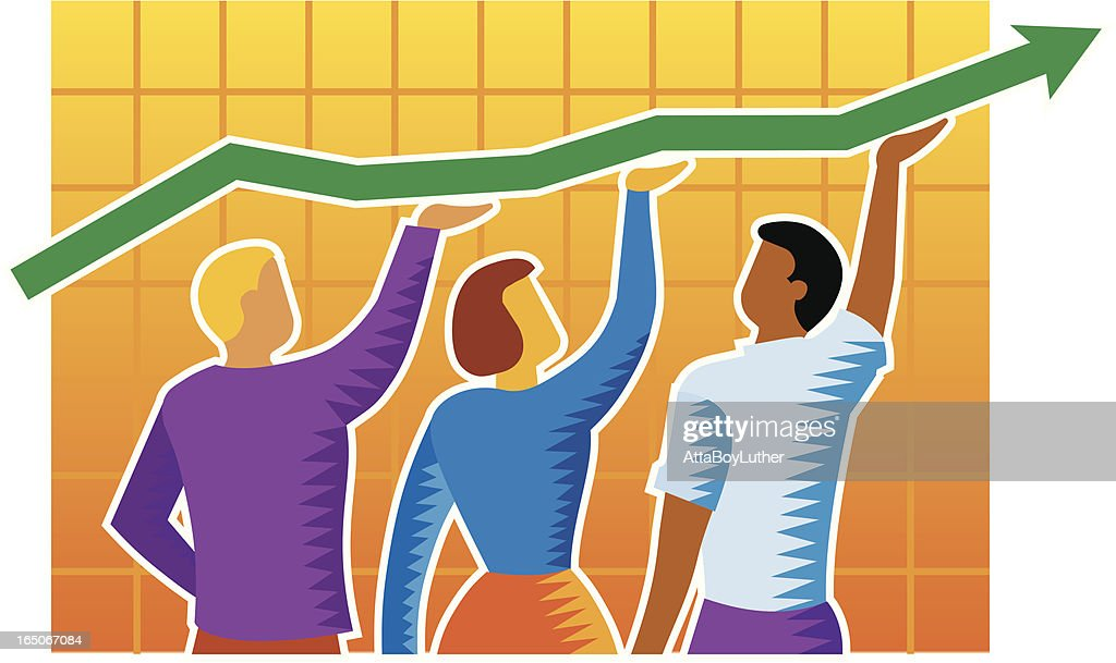 Business people with growth chart : stock illustration