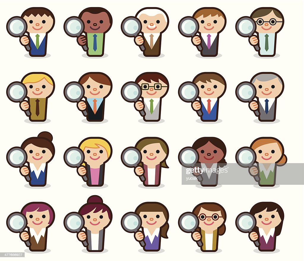 Business people with magnifying glass