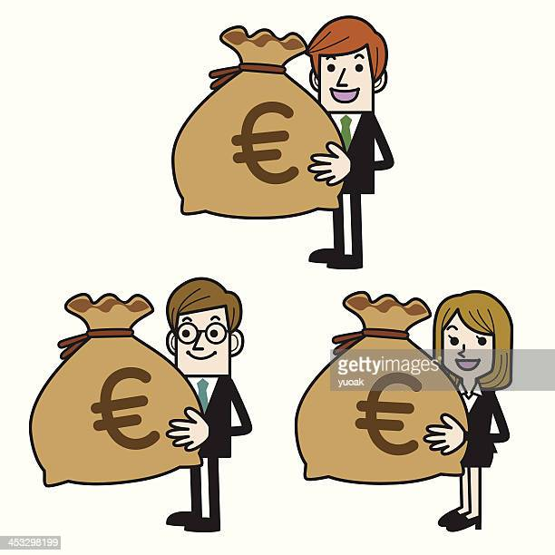 business people with money bag (euro) - european union euro note stock illustrations, clip art, cartoons, & icons