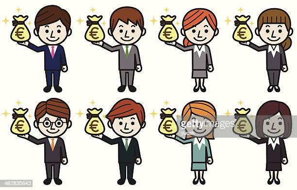 business people with money bag(euro) - european union euro note stock illustrations, clip art, cartoons, & icons