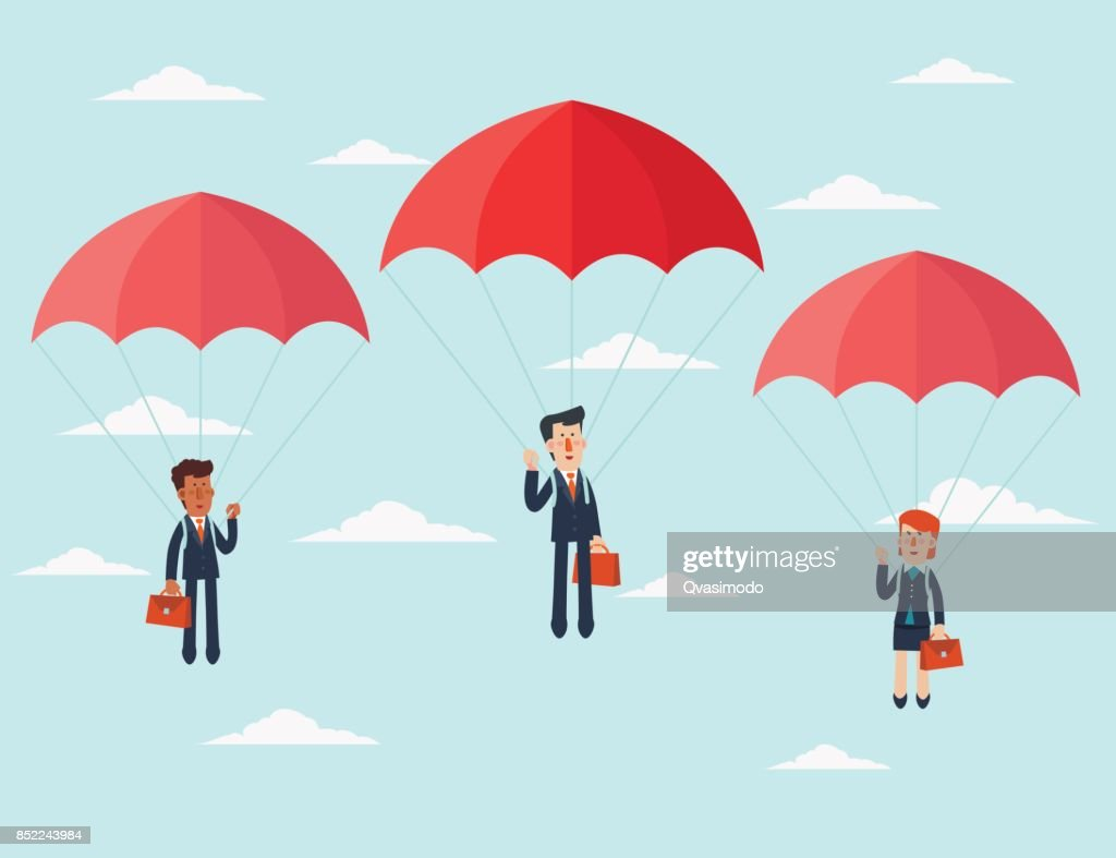 Business people with parachute