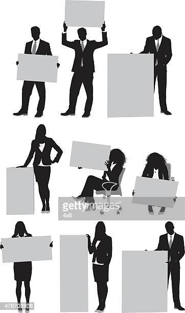 business people with placard - holding stock illustrations, clip art, cartoons, & icons