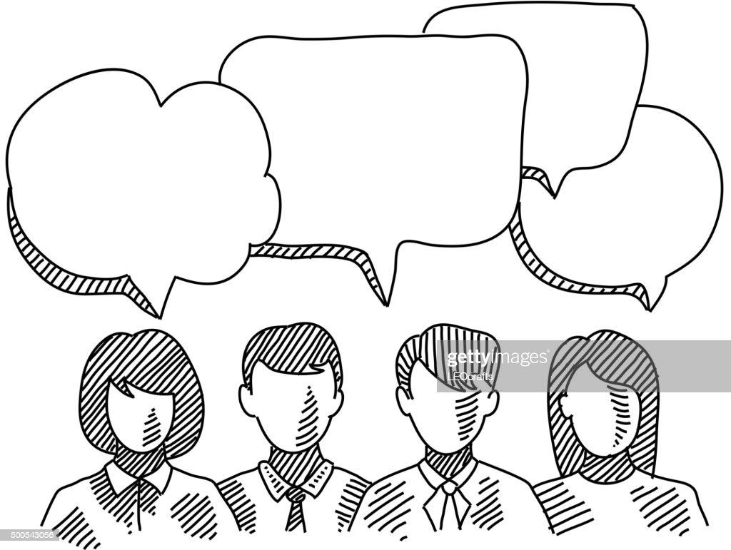 Business people with Speech bubbles Drawing