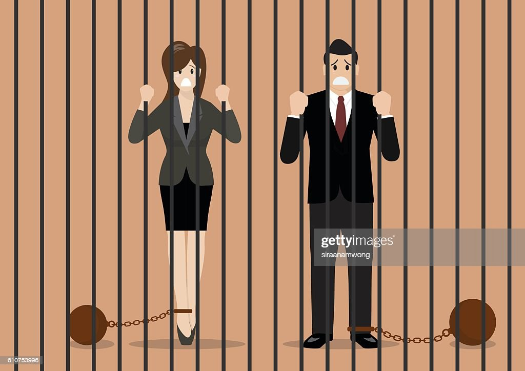 Business people with weights in prison