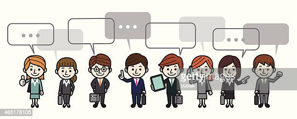 business people withs speech bubbles - assertiveness stock illustrations, clip art, cartoons, & icons