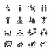 business people working action icon set, vector eps10
