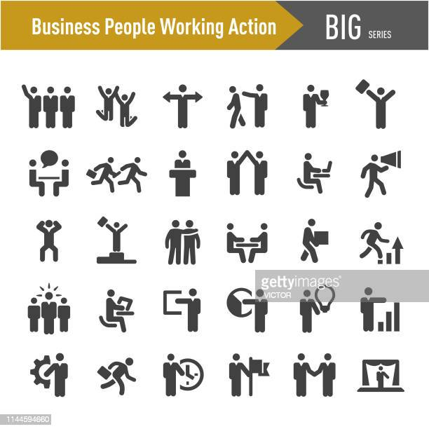 business people working action icons - big series - routine stock illustrations