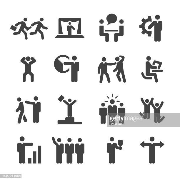 business people working action icons set - acme series - ecstatic stock illustrations