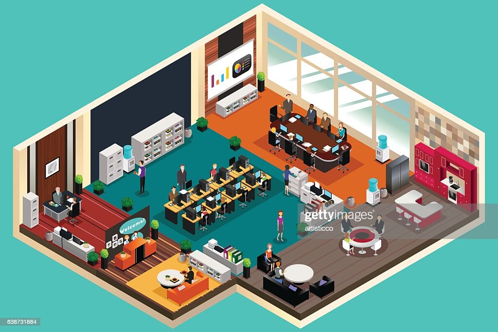 Business People Working in the Office in Isometric Style