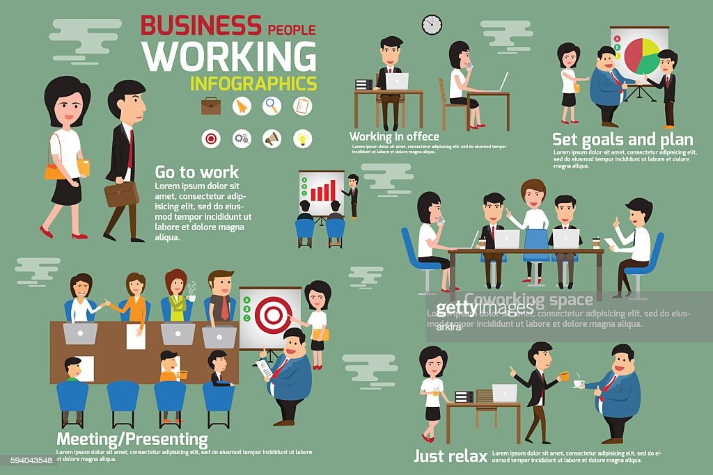 Business people working infographics elements.