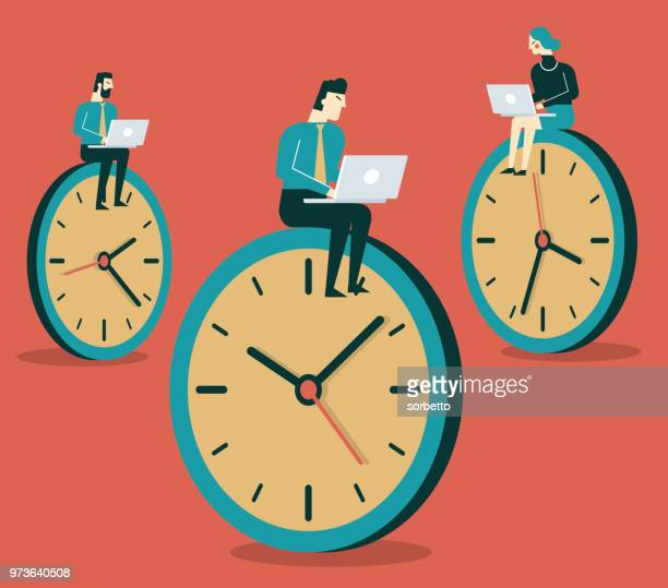 business people working on clock - overworked stock illustrations