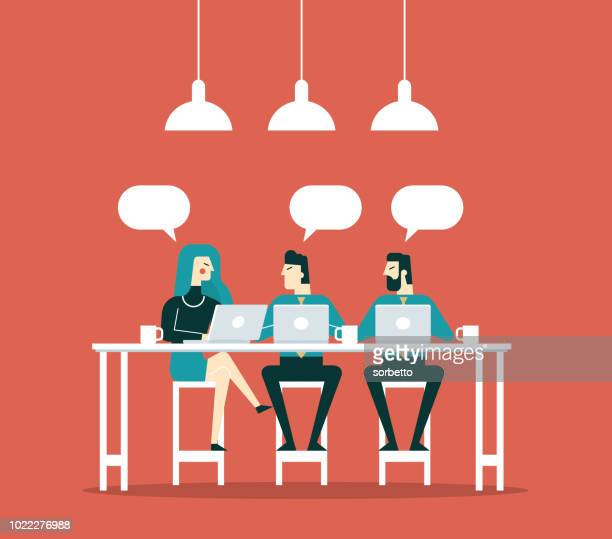 business people working together in the coffee shop - coffee break stock illustrations, clip art, cartoons, & icons