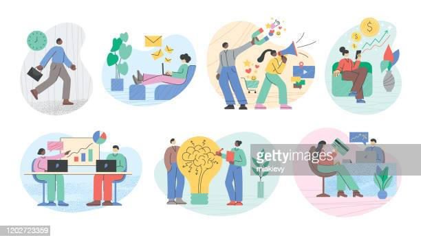illustrazioni stock, clip art, cartoni animati e icone di tendenza di business people working - collezione