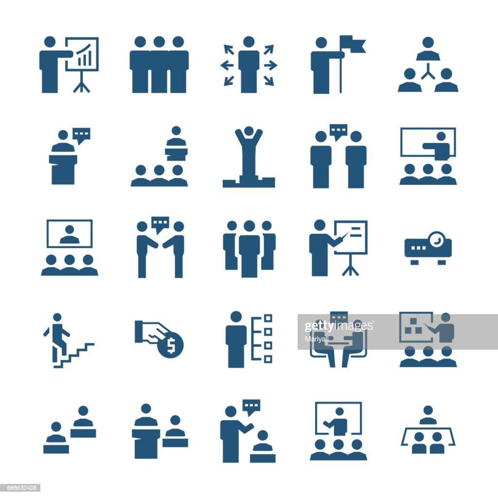 Business people,presentation,training icon set in flat style. Vector symbols.