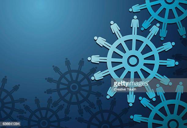 business peoples and cogwheels on blue background - turning stock illustrations
