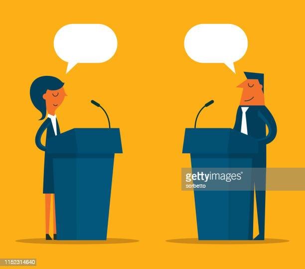 stockillustraties, clipart, cartoons en iconen met zakelijke persoon een spreken op het podium - politicus