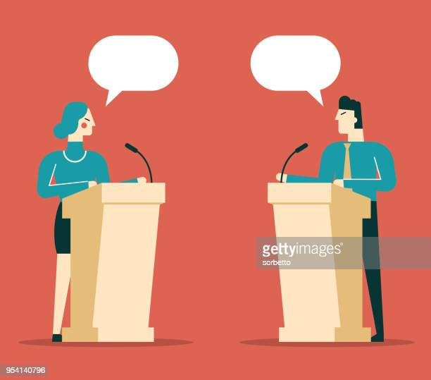 business person a speaking at podium - microphone transmission stock illustrations