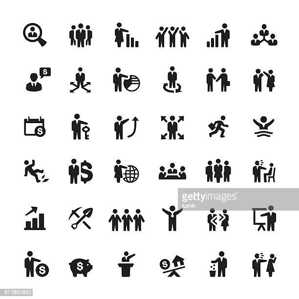 business person and human resources vector icons - large group of objects stock illustrations