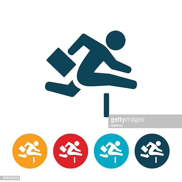 business person jumping hurdle - hurdle stock illustrations