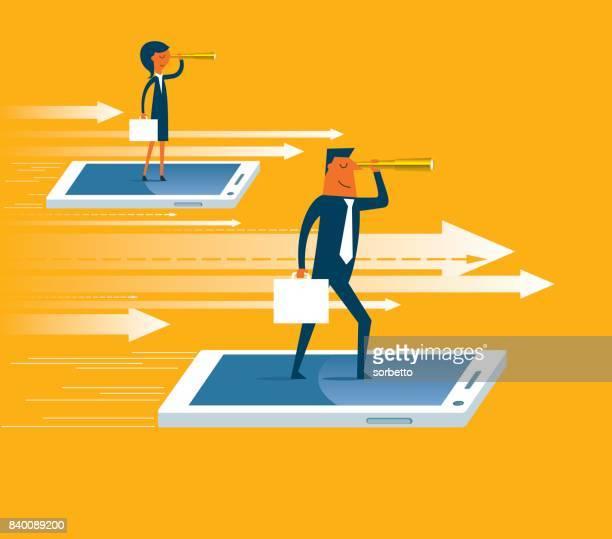 illustrations, cliparts, dessins animés et icônes de homme d'affaires sur le vol portable - profession supérieure ou intermédiaire