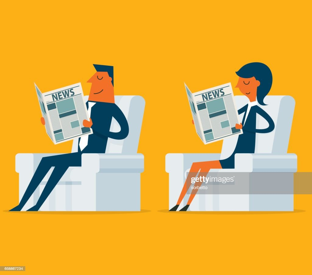 business person reading newspaper : stock illustration