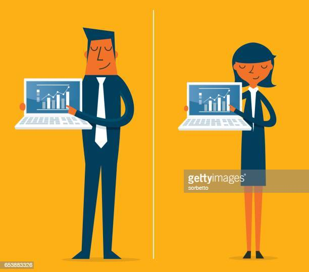 business person stands with an open laptop - presentation stock illustrations