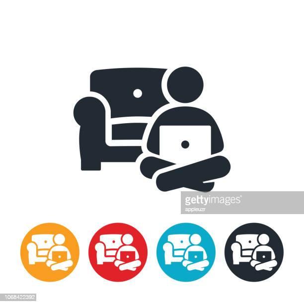 Business Person Telearbeit von Home-Symbol