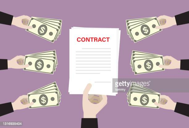 business person using a us dollar banknote buy a contract - bid stock illustrations