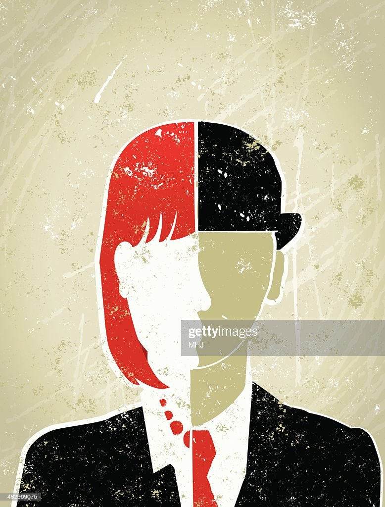 Business Person with Face that is Half Male and Female