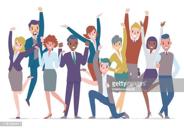illustrazioni stock, clip art, cartoni animati e icone di tendenza di gruppo di uomini d'affari che celebrano - rivolto verso l'obiettivo