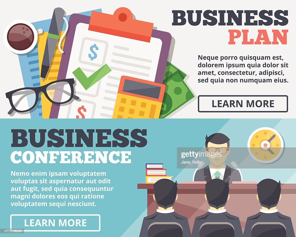 Business plan and business conference flat illustration concepts set.