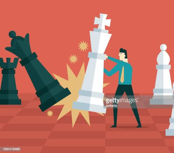 ilustraciones, imágenes clip art, dibujos animados e iconos de stock de plan de negocios - empresario - tablero ajedrez