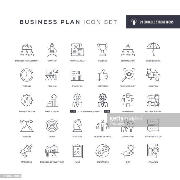business plan editable stroke line icons - risk stock illustrations
