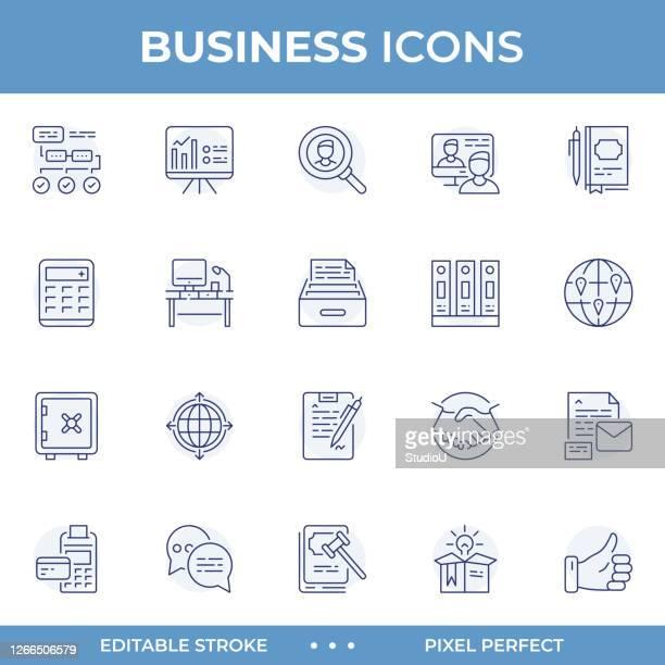 business plan editable stroke line icons - business plan stock illustrations
