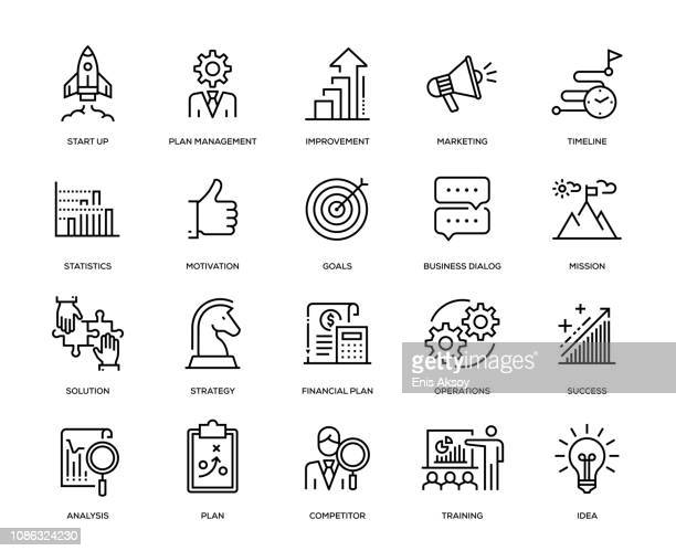 stockillustraties, clipart, cartoons en iconen met business plan icon set - nieuw bedrijf
