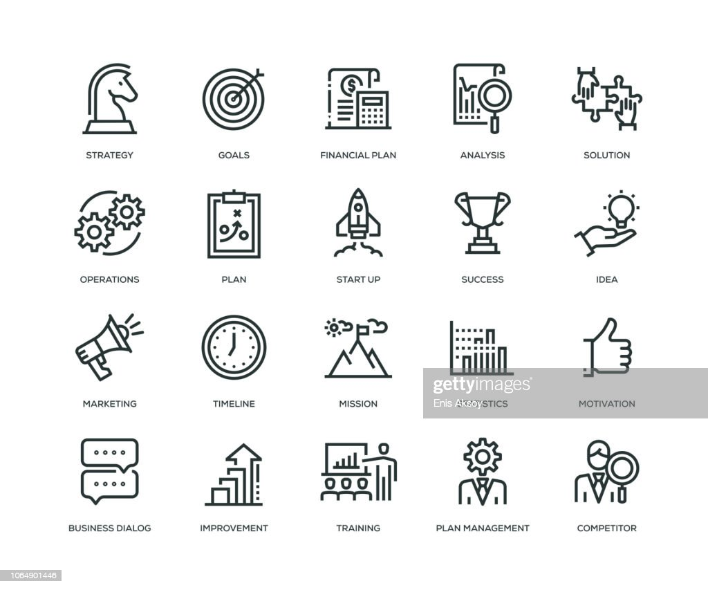 Business Plan Icons - Line Series : Stock Illustration