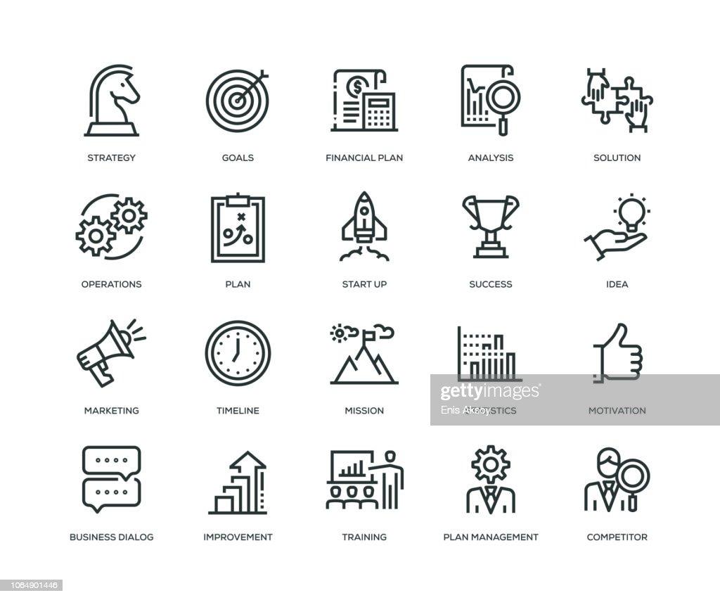 Icone del business plan - Serie Line : Illustrazione stock