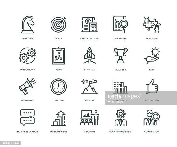 business plan icons - line series - growth stock illustrations