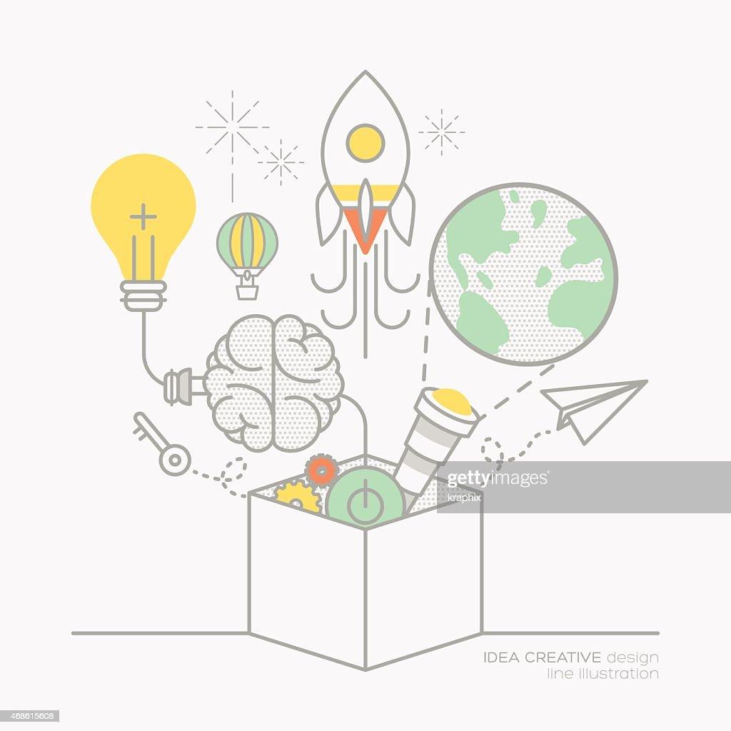 business plan idea concept outline icons illustration