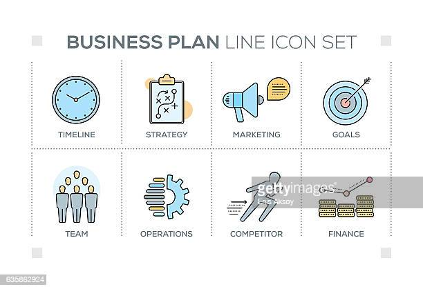 Business Plan keywords with line icons