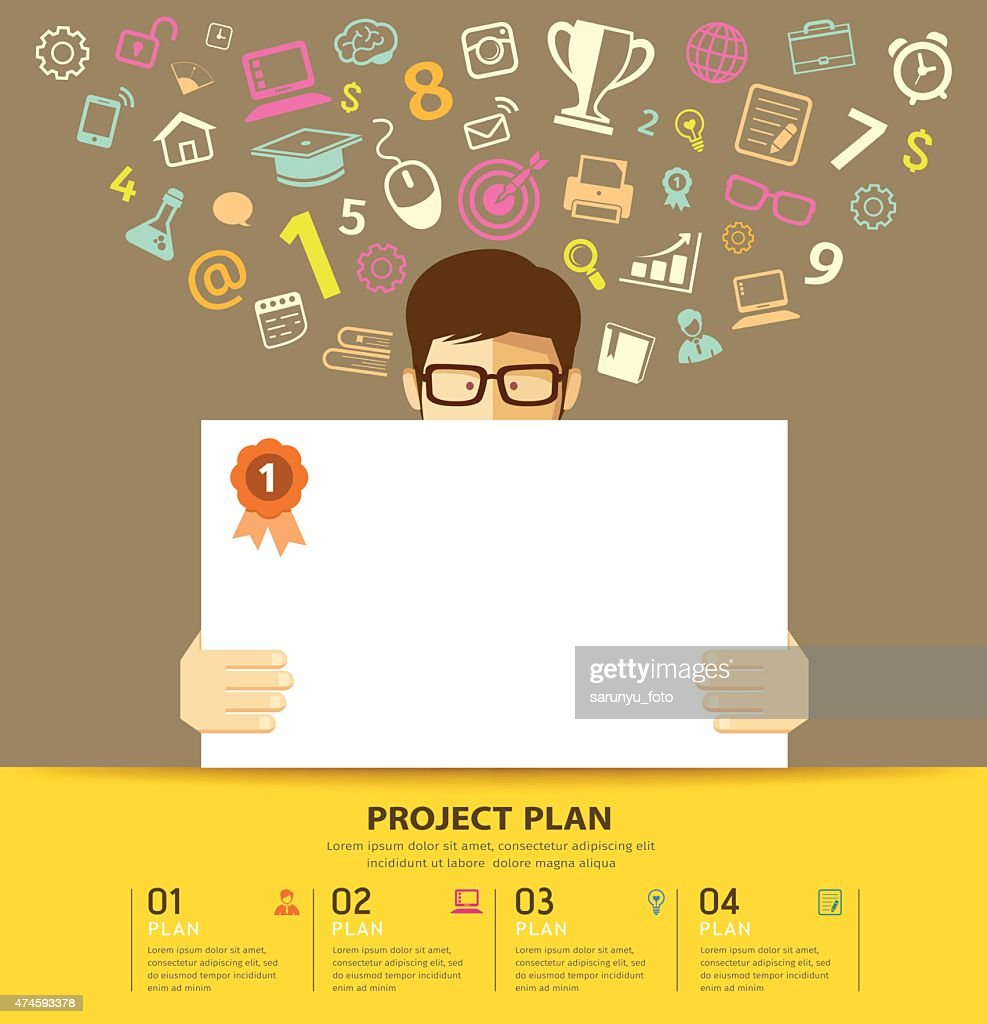 Business plan white paper in hands man with colorful business icons