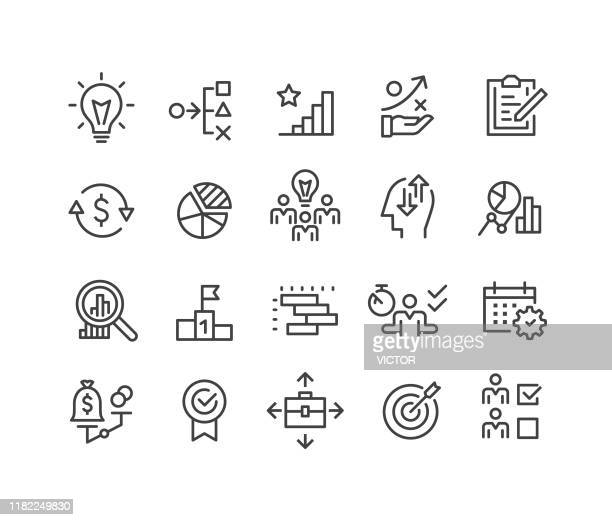 business planning and management icons - classic line series - chores stock illustrations