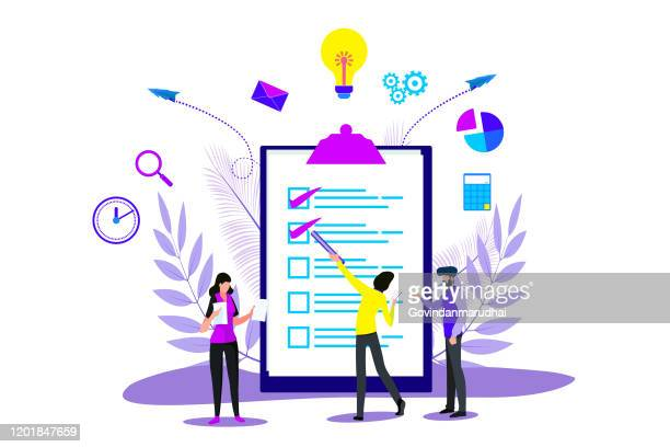stockillustraties, clipart, cartoons en iconen met business planning en strategie landing in checklist voor webpagina of website - planning