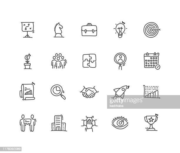 illustrazioni stock, clip art, cartoni animati e icone di tendenza di set di icone pianificazione aziendale - disegnare