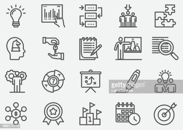 business planning line icons - arrival stock illustrations