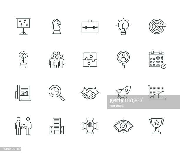 stockillustraties, clipart, cartoons en iconen met zakelijke planning thin line serie - idee