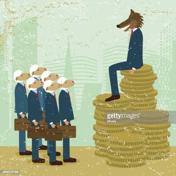 貧困ウエルス成功のビジネス財務動物の男性 inequality お金を節約