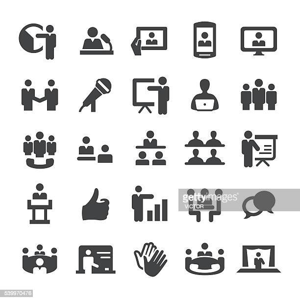 business presentation and meeting icons - smart series - microphone transmission stock illustrations