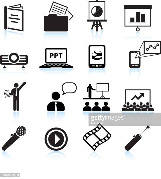 Business presentation black & white royalty free vector icon set